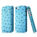 IMAK Ostrich Series leather Case holster Cover for iPhone 6S Plus - Blue