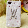 LV Louis Vuitton diamond Crystal Cases Bling Pearl Hard Covers for iPhone 6S Plus - White