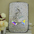 Luxury Bling Holster Covers Swan diamond Crystal Cases for iPhone 6S Plus - White