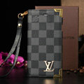 Classic LV Louis Vuitton Lattice Leather Flip Cases Holster Covers For iPhone 7 Plus - Blue