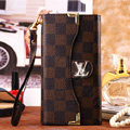 Classic LV Plaid High Quality Leather Flip Cases Holster Covers for iPhone 7 Plus - Brown