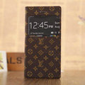 Hot Sale LV Louis Vuitton Floral Bracket Leather Flip Cases Holster Covers for iPhone 7 Plus - Brown
