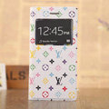 Hot Sale LV Louis Vuitton Floral Bracket Leather Flip Cases Holster Covers for iPhone 7 Plus - White