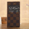Hot Sale LV Louis Vuitton Lattice Bracket Leather Flip Cases Holster Covers for iPhone 7 Plus - Brown
