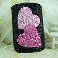 Luxury Bling Holster Covers Heart Crystal diamond Cases for iPhone 7 Plus - Black