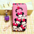 Minnie Mouse leather Case Side Flip Holster Cover Skin for iPhone 7 Plus - Pink