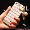 Unique Swarovski Bling Case Heart Tassels Rhinestone Cover for iPhone 7 Plus - White
