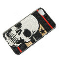 Bling Swarovski crystal cases Skull diamond covers Skin for iPhone 7S - Black
