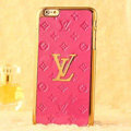 Classic LV Metal Flower Leather Cases Luxury Hard Back Covers Skin for iPhone 7S - Rose