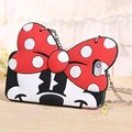 Cute Cover Cartoon Minnie Silicone Cases Chain for iPhone 7S - Red