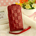 GUCCI leather Cases Luxury Holster Covers Skin for iPhone 7S - Red