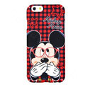 Genuine Cute Glasses Minnie Mouse Covers Plastic Back Cases Cartoon Matte for iPhone 7S - Red