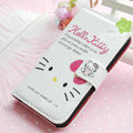 Hello Kitty Side Flip leather Case Holster Cover Skin for iPhone 7S - White 01