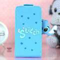 Stitch Flip leather Case Holster Cover Skin for iPhone 7S - Blue