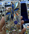 Swarovski crystal cases Flower Rabbit Bling diamond cover skin for iPhone 7S - Blue