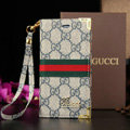 Classic Gucci High Quality Leather Flip Cases Holster Covers For iPhone 8 - Blue