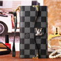 Classic LV Plaid High Quality Leather Flip Cases Holster Covers for iPhone 8 - Black