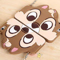Cute Cover Cartoon Chipmunk Silicone Cases Chain for iPhone 8 - Brown