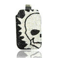 Luxury Bling Holster Covers Skull diamond Crystal Cases for iPhone 8 - White