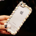 Pretty Swarovski Bling Rhinestone Pearl Bumper Frame Case Cover for iPhone 8 - White