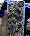 Swarovski crystal cases Bling Leopard diamond cover for iPhone 8 - Black