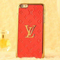 Classic LV Metal Flower Leather Cases Luxury Hard Back Covers Skin for iPhone 8 Plus - Orange