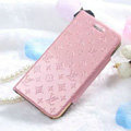 Classic LV folder Leather Cases Book Flip Holster Cover for iPhone 8 Plus - Pink