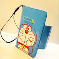 Doraemon Side Flip leather Case Holster Cover Skin for iPhone 8 Plus - Blue