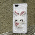 Bling Rabbit Crystal Cases Rhinestone Pearls Covers for iPhone 7S Plus - White