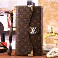 Classic LV Floral High Quality Leather Flip Cases Holster Covers for iPhone 7S Plus - Brown