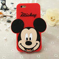 Cute Cartoon Cover Disney Mickey Silicone Cases Skin for iPhone 7S Plus - Red