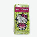 Hello kitty diamond Crystal Cases Bling Hard Covers for iPhone 7S Plus - Green