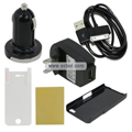 5 in 1 Charging and Protection Set for Apple iPhone 4th / 4G - Black