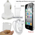 5 in 1 Charging and Protection Set for Apple iPhone 4th / 4G - White