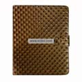 Diamond Lines Leather Case Folio for Apple iPad-Brown