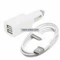 Dual USB Port Car Charger with USB Cable for Apple iPhone 4 / 3G / 3GS / iPad-White
