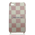 High Quality LV Damier Pattern Protective Case for iPhone 4th / 4G - White & Red