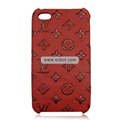 High Quality LV Pattern Protective Case for iPhone 4th / 4G - Red