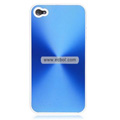 Shiny Coil Pattern Hardware Material Protective Case for Apple iPhone 4th / 4G - Blue