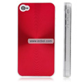 Shiny Coil Pattern Hardware Material Protective Case for Apple iPhone 4th / 4G - Red