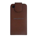 Vertical Flip Open PU Leather Case for Apple iPhone 4th / 4G - Brown
