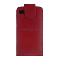 Vertical Flip Open PU Leather Case for Apple iPhone 4th / 4G - Red