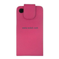 Vertical Flip Open PU Leather Case for Apple iPhone 4th / 4G - Rose