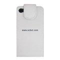 Vertical Flip Open PU Leather Case for Apple iPhone 4th / 4G - White