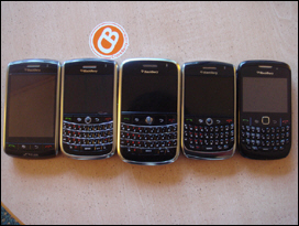 L to R: BlackBerry Storm 9530, Tour 9630, Bold 9000, Curve 8900, Curve 8520